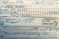 چالان پر ڈرائیور کا تیز رفتاری کے لیے  انوکھا جواز۔ ہوا گاڑی کو دھکیل ..