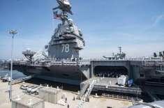 ڈونلڈ ٹرمپ نے نئے جنگی سمندری  طیارہ بردار جہاز کا افتتاح کر دیا۔ جہاز ..