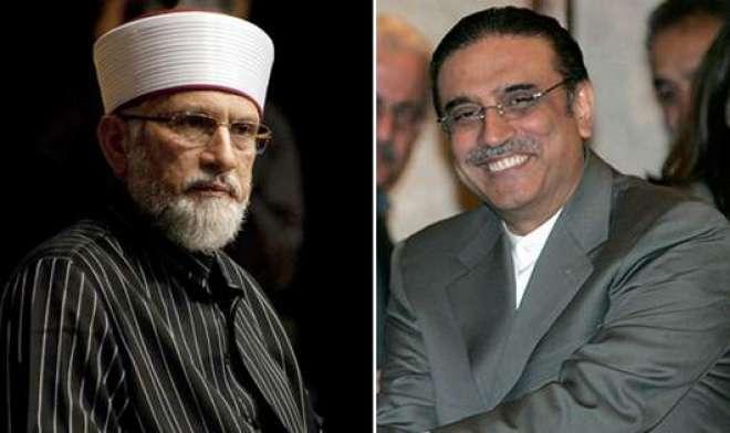 آصف زرداری اور سربراہ عوامی تحریک ڈاکٹرطاہرالقادری کے درمیان اہم ملاقات'مشتر ..