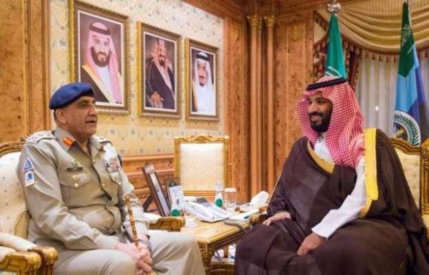 آرمی چیف جنرل قمر جاوید باجوہ کی سعودی ولی عہد شہزادہ محمد بن سلمان ..