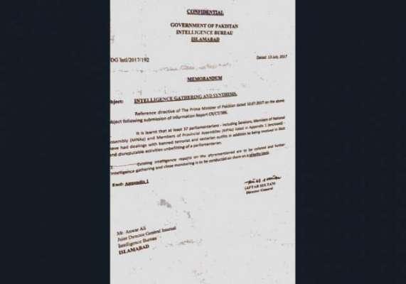 اراکین اسمبلی کے کالعدم تنظیموں کیساتھ تعلقات سے متعلق آئی بی کا مبینہ ..