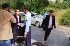 پولیس سے بدتمیزی کرنے والی خاتون  کو پولی کلینک اسپتال منتقل کر دیا ..