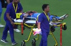 Hardik Pandya leaves the field on a stretcher