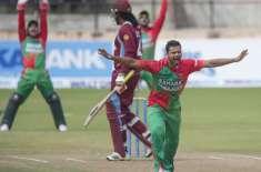 بنگلہ دیش اور ویسٹ انڈیز کی ٹیمیں پہلے ون ڈے انٹرنیشنل کرکٹ میچ میں ..