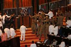 لنکن پارلیمنٹ میں دوسرے روز بھی ارکان گتھم گتھا،