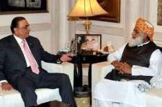 سابق صدر آصف علی زرداری ،مولانا فضل الرحمان سے ملاقات کے لیے انکی رہائش ..