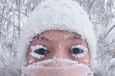 روس میں منفی 62 ڈگری سینٹی گریڈ  کی سردی میں رہائشیوں کی آنکھوں کی پلکیں ..
