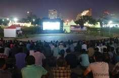 پاک بھارت میچ دیکھنے کیلئے شہر میں شائقین کرکٹ کیلئے بڑی بڑی سکرینیں ..