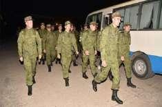 مشترکہ مشق ''دروزوبہ ۔3''میں شرکت کے لئے روسی فوج کا دستہ پاکستان ..