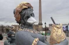 فضائی آلودگی کے خلاف  انوکھا احتجاج ۔ فرانسیسی مجسموں نے بھی ماسک پہن ..