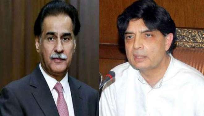 چوہدری نثار علی خان اور سپیکر قومی اسمبلی سردار ایاز صادق کی ملاقات
