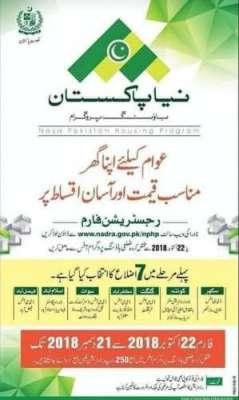 نیا پاکستان ہاؤسنگ اسکیم میں رجسٹریشن کا آغاز
