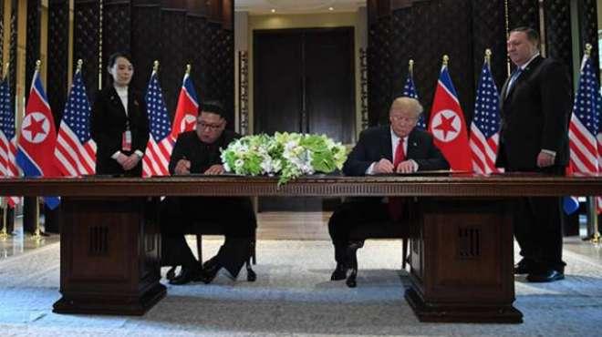 امریکی صدر ڈونلڈ ٹرمپ اور شمالی کوریا کے سربراہ کم جونگ مذکرات کی میزپر ..