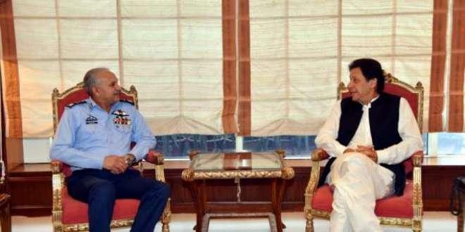 وزیراعظم عمران خان سے پاک فضائیہ کے سربراہ ایئر چیف مارشل مجاہد انور ..