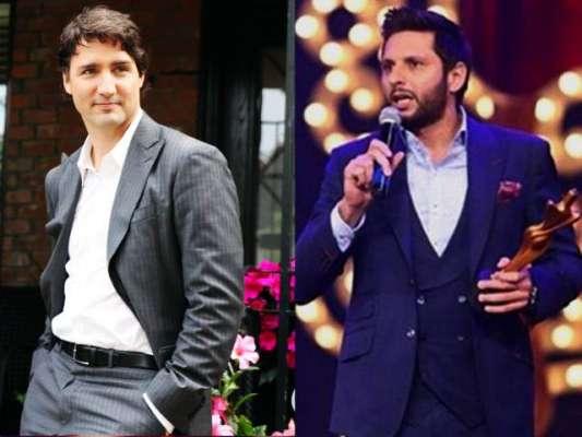 """کینیڈین وزیر اعظم بھی شاہد آفریدی کے """" فین """" ہوگئے"""