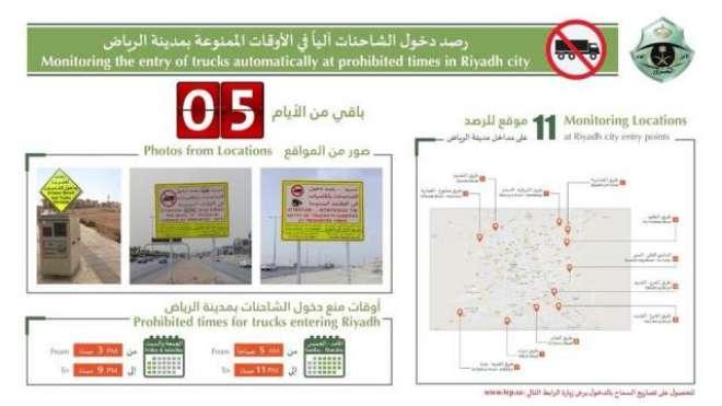 سعودی دارالحکومت ریاض کے داخلی راستوں پر ممنوعہ اوقات میں بڑی گاڑیوں ..