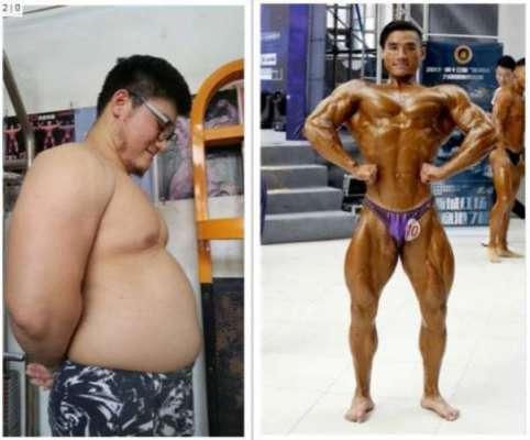 موٹا اور وزنی  چینی طالب علم  صرف 6 ماہ میں  باڈی بلڈنگ چیمپئن بن گیا