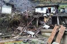 آزاد کشمیر میں لینڈ سلائڈنگ سے 4 مکان تباہ