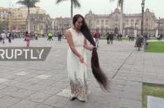 5.8 فٹ لمبے بالوں والی خاتون اپنا نام گینیز ورلڈ ریکارڈ میں درج کرائیں ..