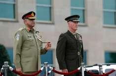 آرمی چیف جنرل باجوہ کی پینٹاگون آمد کے موقع پر  فقید المثال استقبال