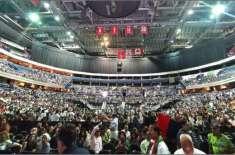وزیر اعظم عمران خان کا خطاب سننے کے لیے عوام کا سمندر امڈ آیا