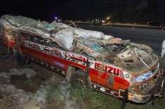 بدین میں تیزرفتار مسافر بس الٹ گئی'9 افراد جاں بحق48 زخمی