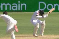 دوسرا ٹیسٹ ، سری لنکن بلے باز کارونارتنے سر پر گیند لگنے سے گرگئے