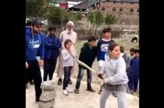 shahid afridi playing cricket with daughters and kalam