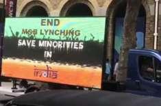 لندن، کرکٹ ورلڈ کپ فائنل کے دوران سٹیڈیم کے باہر بھارت میں انسانی حقوق ..