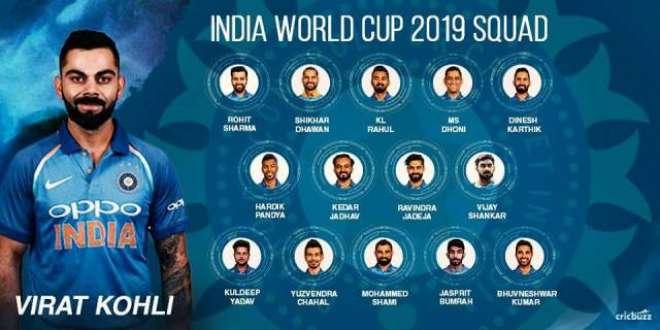 آئی سی سی ورلڈ کپ2019ءکے لیے 15رکنی بھارتی سکواڈ کا اعلا ن