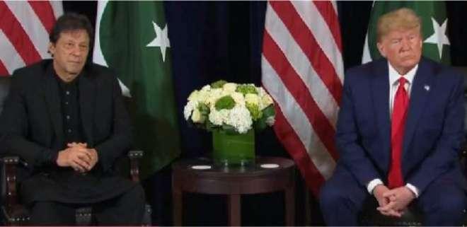 امریکی صدر ڈونلڈ ٹرمپ اور وزیراعظم عمران خان کی میڈیا سے بات چیت