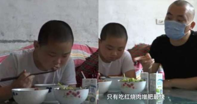 11 سالہ لڑکا  وزن بڑھا کر اپنے باپ کی زندگی بچانے کے لیے دن میں 5 وقت کھانا ..