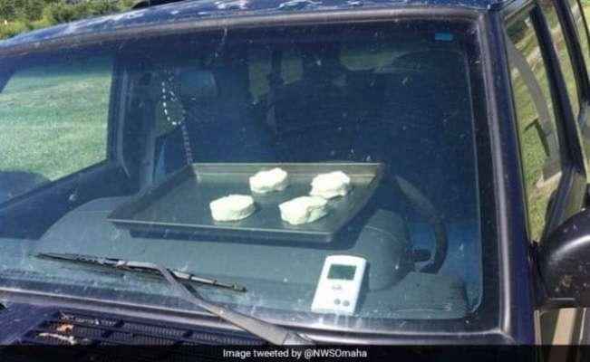 گرمی کی شدت سے کار میں بسکٹ پکنے لگے۔ محکمہ موسمیات کا تجربہ