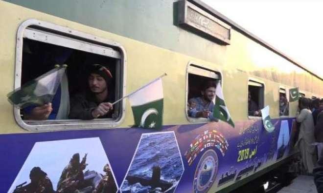 امن مشق 19، پاکستان ریلوے کی ٹرین امن بینرز کیساتھ روانہ