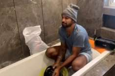 بھارتی کرکٹر شیکر دھون کی کپڑے اور باتھ روم دھونے کی ویڈیو وائرل