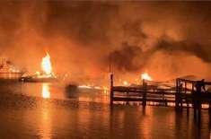 امریکی ریاست الاباما کے ساحل پر لنگر انداز کشتیوں میں آتشزدگی، 8 افراد ..