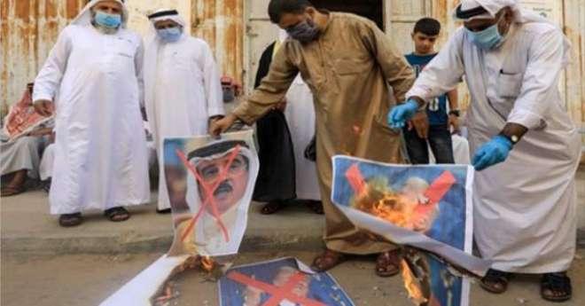 بحرین اور اسرائیل کے درمیان امن معاہدے کے اعلان کے خلاف فلسطینیوں کی ..