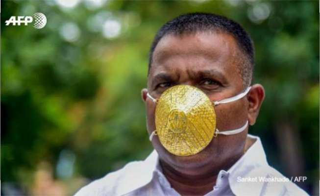 کورونا سے بچاؤ کے لیے بھارتی شہری کا منفرد انداز، سونے کا ماسک خرید ..