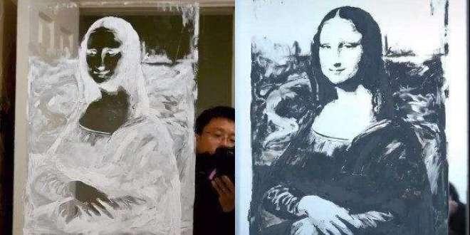 اس فنکار کی شیشے پر ٹوتھ پیسٹ  سے بنائی ہوئی تصاویر لائٹ بند کر نے پر ..