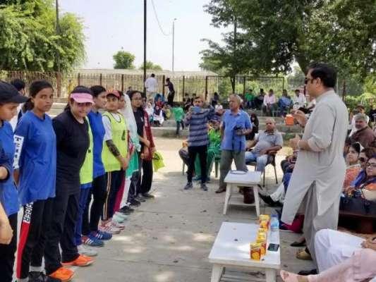 ناصر سلمان ترجمان حکومت پنجاب کی ریلوے گریفن گراؤنڈ میں وومن والی بال ..