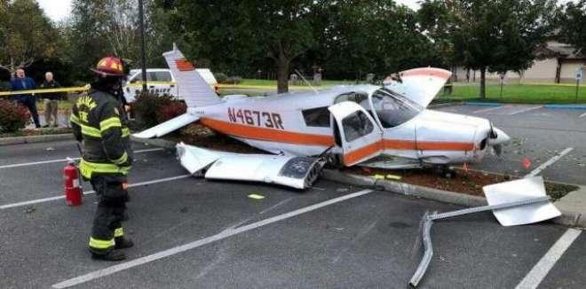 امریکا ، ایک انجن والا چھوٹا طیارہ گر کر تباہ،تینوں سوار محفوظ