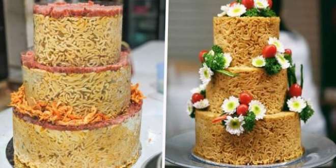 انڈونیشیا کی یہ بیکری انسٹنٹ نوڈلز سے  مزےدار کیک تیار کرتی ہے
