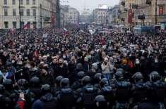 روس میں حکومت خلاف مظاہرے،جھڑپیں،سینکڑوں  افراد گرفتار