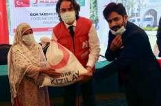ہلالِ احمر کے زیر ِ اہتمام 500 مستحق گھرانوں میں راشن پیک کی تقسیم