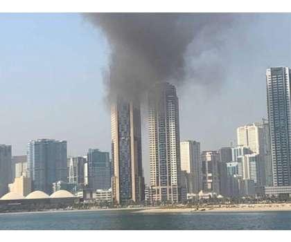 اماراتی ریاست شارجہ کی ایک عمارت میں آگ بھڑک اُٹھی