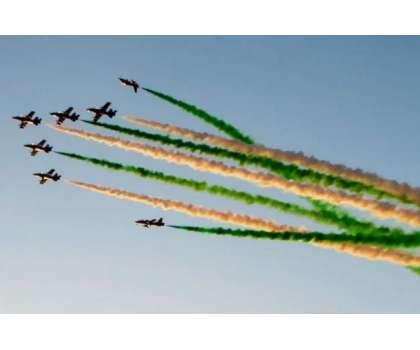 قومی دن پر سعودیہ میں ایئر شو کی تیاریاں، فضا مختلف رنگوں سے سج گئی