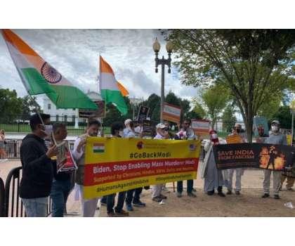 بھارتی نژاد امریکیوں کا مودی کے دورہ امریکہ کے خلاف احتجاجی مظاہرہ