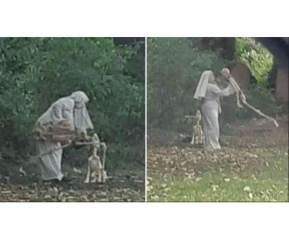 انگلینڈ ، قبرستان میں خاتون کا انسانی ڈھانچے کے ساتھ رقص ، تصاویر وائرل