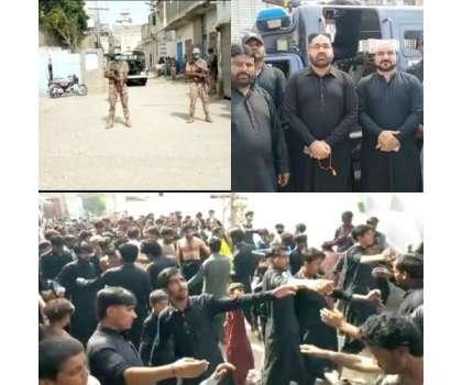 کندھ کوٹ میں بھی چہلم نہایت ہی عقیدت و احترام سے منایا جارہا ہے ، پانچ ماتمی جلوس بر آمد مرکزی جلوس غلام شاہ امام بارگاہ سے برآمد ، پولیس اور رینجرزس سیکورٹی  سر انجام دینے لگے