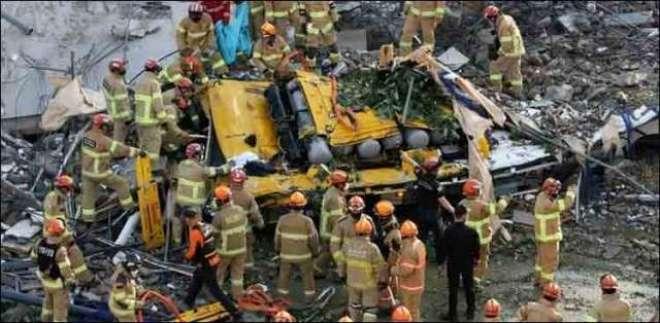 جنوبی کوریامیں پانچ منزلہ عمارت مسافر بس پر آگری،نومسافر ہلاک